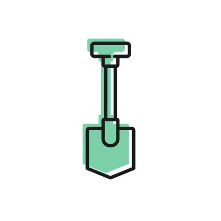 Black line Shovel icon isolated on white background. Gardening tool. Tool for horticulture, agriculture, farming. Vector Illustration.