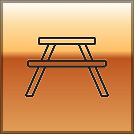 Black line Picnic table with benches on either side of the table icon isolated on gold background. Vector Illustration.