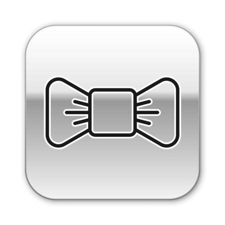 Black line Bow tie icon isolated on white background. Silver square button. Vector Illustration. Foto de archivo - 150195526