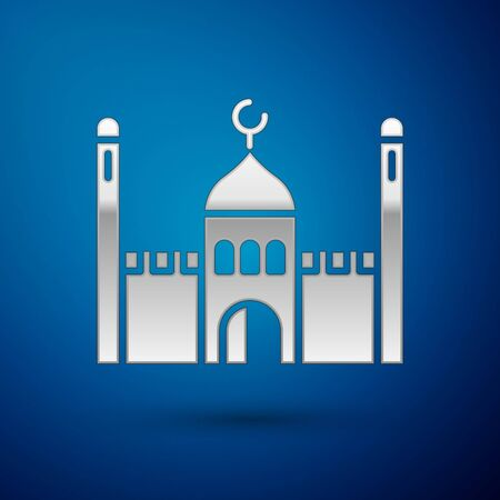 Silver Muslim Mosque icon isolated on blue background. Vector Illustration.