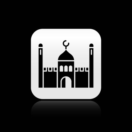 Black Muslim Mosque icon isolated on black background. Silver square button. Vector Illustration. 向量圖像