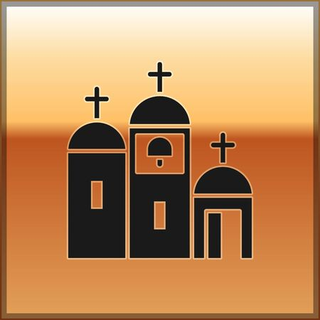 Black Church building icon isolated on gold background. Christian Church. Religion of church. Vector Illustration.