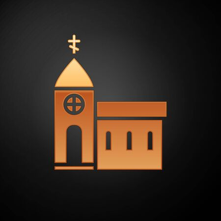 Gold Church building icon isolated on black background. Christian Church. Religion of church. Vector Illustration. Illustration