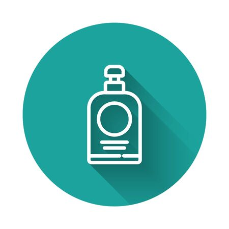 White line Hand sanitizer bottle icon isolated with long shadow. Disinfection concept. Washing gel. Alcohol bottle for hygiene. Green circle button. Vector Illustration.