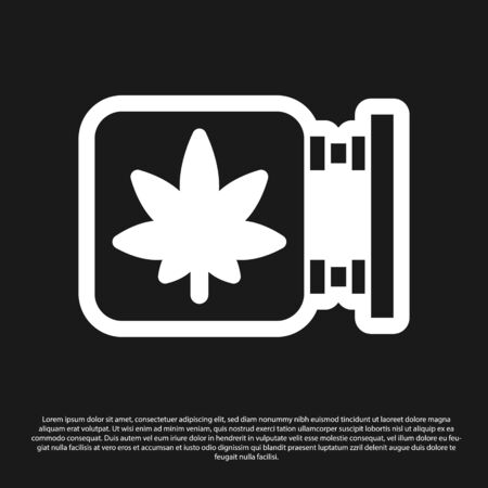 Black Marijuana and cannabis store icon isolated on black background. Equipment and accessories for smoking, storing medical cannabis. Vector Illustration.