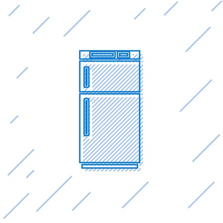 Blue line Refrigerator icon isolated on white background. Fridge freezer refrigerator. Household tech and appliances. Vector Illustration.