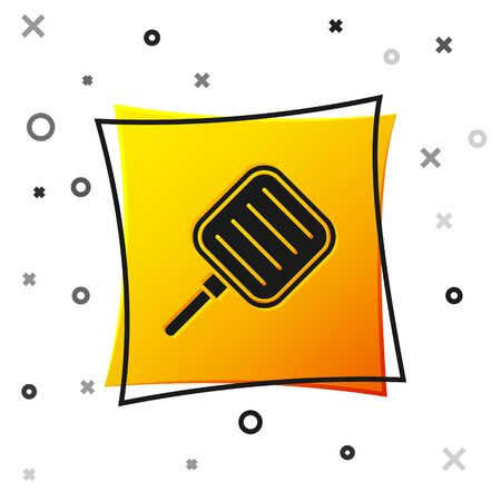 Black Frying pan icon isolated on white background. Fry or roast food symbol. Yellow square button. Vector Illustration.
