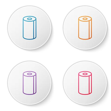 Color line Paper towel roll icon isolated on white background. Set icons in circle buttons. Vector Illustration.