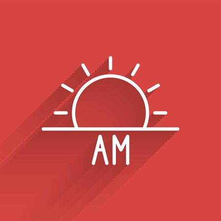 White line Sunrise icon isolated with long shadow. Vector Illustration. Vectores