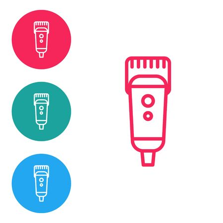 Red line Electrical hair clipper or shaver icon isolated on white background. Barbershop symbol. Set icons in circle buttons. Vector Illustration. Vettoriali