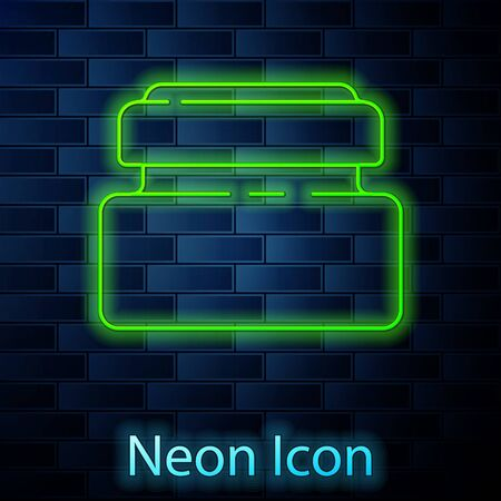 Glowing neon line Cream or lotion cosmetic tube icon isolated on brick wall background. Body care products for men. Vector Illustration.
