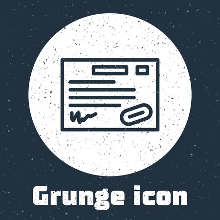 Grunge line Warranty certificate template icon isolated on grey background. Monochrome vintage drawing. Vector Illustration. Ilustrace