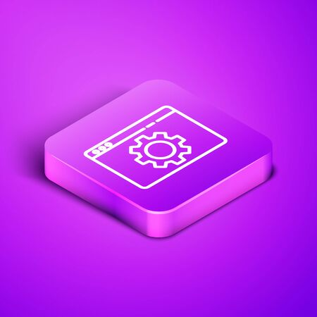 Isometric line Browser setting icon isolated on purple background. Adjusting, service, maintenance, repair, fixing. Purple square button. Vector Illustration.