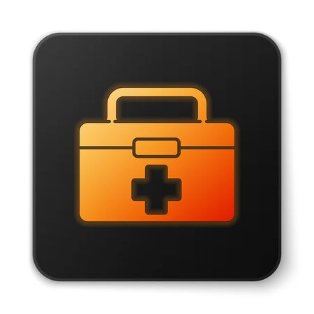 Orange glowing neon First aid kit icon isolated on white background. Medical box with cross. Medical equipment for emergency. Healthcare concept. Black square button. Vector Illustration. Banque d'images - 150194126