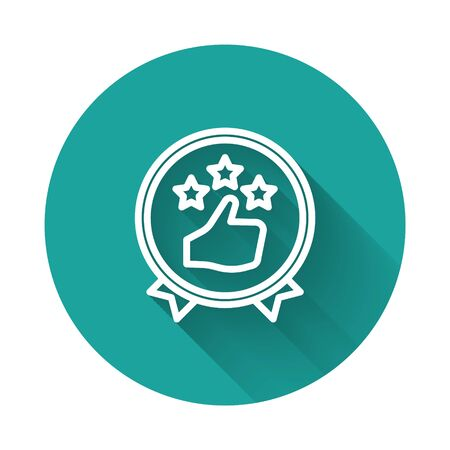 White line Consumer or customer product rating icon isolated with long shadow. Green circle button. Vector Illustration.