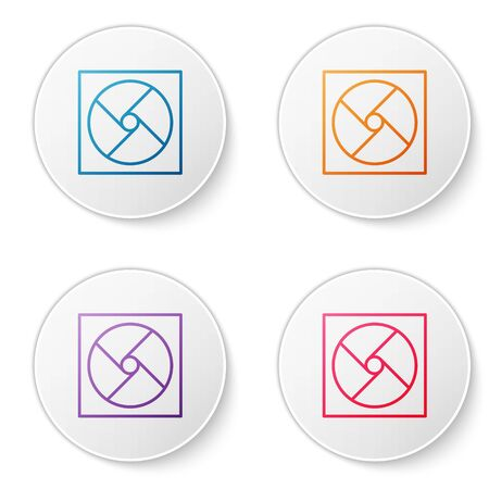 Color line Ventilation icon isolated on white background. Set icons in circle buttons. Vector Illustration.