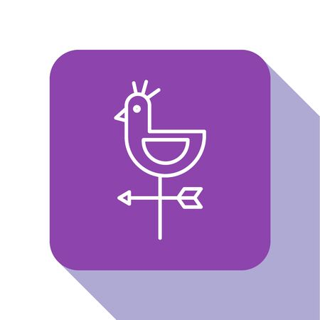 White line Rooster weather vane icon isolated on white background. Weathercock sign. Windvane rooster. Purple square button. Vector Illustration.