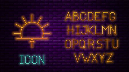 Glowing neon line Sunrise icon isolated on brick wall background. Neon light alphabet. Vector Illustration.