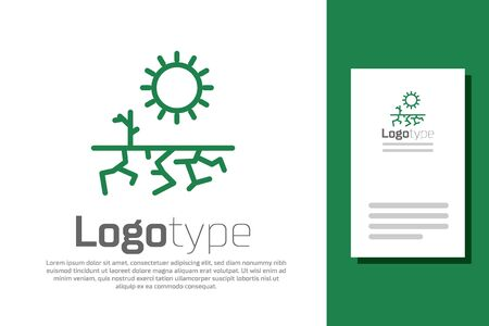 Green line Drought icon isolated on white background. Logo design template element. Vector Illustration.