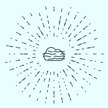 Black line Fog and cloud icon isolated on grey background. Abstract circle random dots. Vector Illustration.