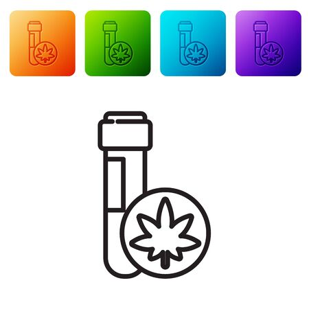 Black line Chemical test tube with marijuana or cannabis leaf icon isolated on white background. Research concept. Laboratory CBD oil. Set icons in color square buttons. Vector Illustration.