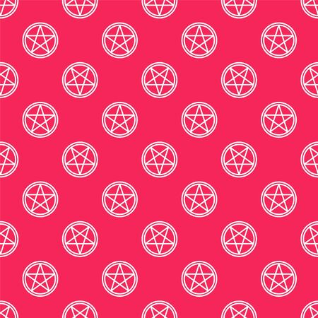 White line Pentagram in a circle icon isolated seamless pattern on red background. Magic occult star symbol. Vector Illustration. 写真素材 - 150195741