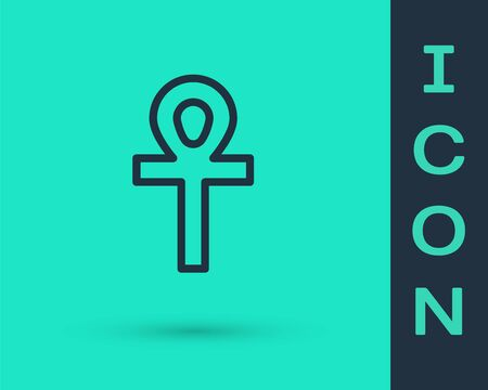 Black line Cross ankh icon isolated on green background. Vector Illustration. 写真素材 - 150195730