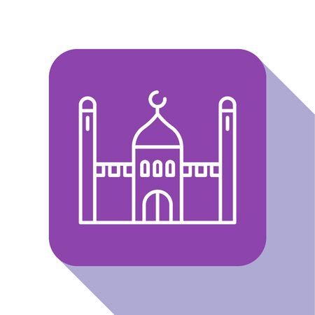 White line Muslim Mosque icon isolated on white background. Purple square button. Vector Illustration.