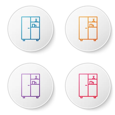 Color line Medicine cabinet icon isolated on white background. Set icons in circle buttons. Vector Illustration.