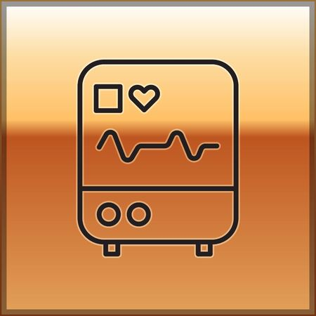 Black line Computer monitor with cardiogram icon isolated on gold background. Monitoring icon. ECG monitor with heart beat hand drawn. Vector Illustration. Ilustracja