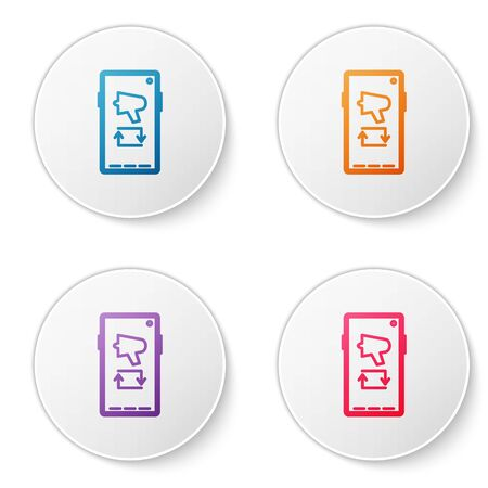 Color line Spread the word, megaphone on mobile phone icon isolated on white background. Set icons in circle buttons. Vector Illustration.