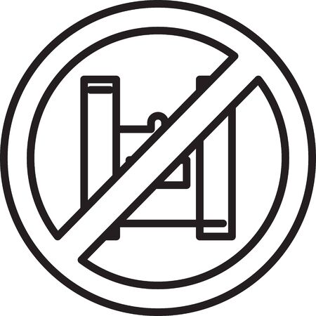Black line Say no to plastic bags poster icon isolated on white background. Disposable cellophane and polythene package prohibition sign. Vector Illustration.