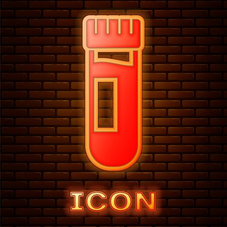 Glowing neon Test tube or flask with blood icon isolated on brick wall background. Laboratory, chemical, scientific glassware sign. Vector Illustration. Banco de Imagens - 150195939