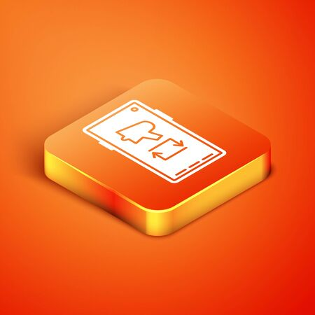 Isometric Spread the word, megaphone on mobile phone icon isolated on orange background. Vector Illustration.
