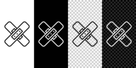 Set line Crossed bandage plaster icon isolated on black and white background. Medical plaster, adhesive bandage, flexible fabric bandage. Vector Illustration. Ilustração