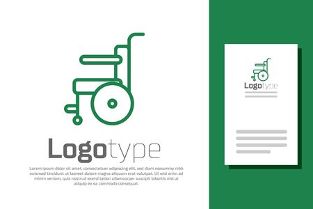 Green line Wheelchair for disabled person icon isolated on white background. Logo design template element. Vector Illustration.