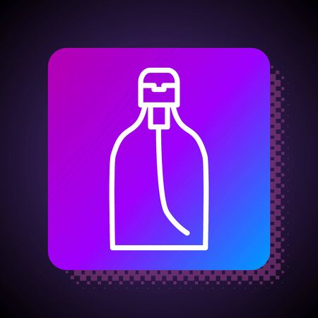 White line Bottle of liquid antibacterial soap with dispenser icon isolated on black background. Disinfection, hygiene, skin care. Square color button. Vector Illustration. Illustration