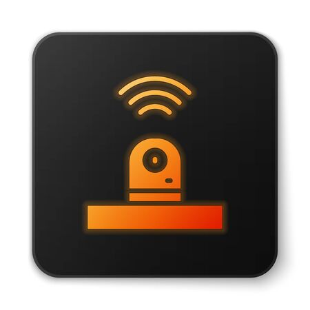Orange glowing neon Smart security camera icon isolated on white background. Internet of things concept with wireless connection. Black square button. Vector. Stock Vector - 150286795