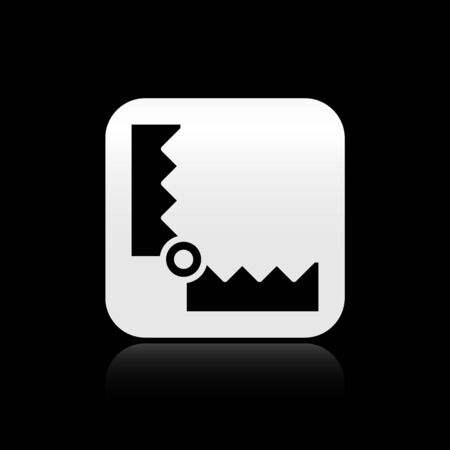 Black Trap hunting icon isolated on black background. Silver square button. Vector. 向量圖像