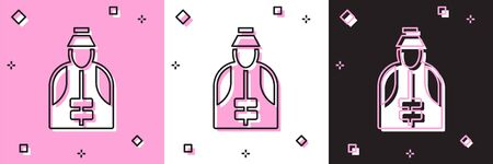 Set Fisherman icon isolated on pink and white, black background. Vector