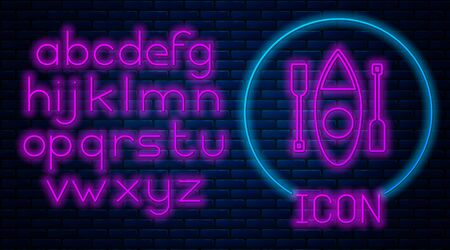 Glowing neon Kayak and paddle icon isolated on brick wall background. Kayak and canoe for fishing and tourism. Outdoor activities. Neon light alphabet. Vector