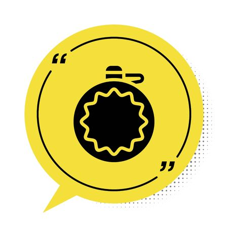 Black Canteen water bottle icon isolated on white background. Tourist flask icon. Jar of water use in the campaign. Yellow speech bubble symbol. Vector