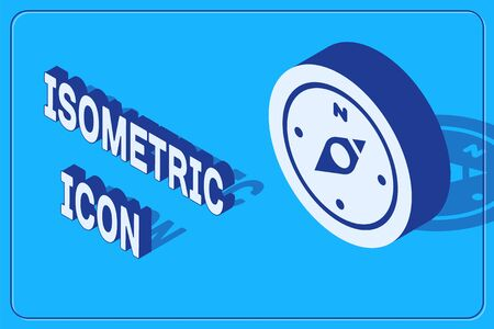 Isometric Compass icon isolated on blue background. Windrose navigation symbol. Wind rose sign. Vector