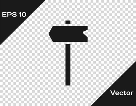 Black Road traffic sign. Signpost icon isolated on transparent background. Pointer symbol. Isolated street information sign. Direction sign. Vector Illustration