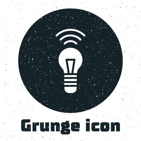 Grunge Smart light bulb system icon isolated on white background. Energy and idea symbol. Internet of things concept with wireless connection. Monochrome vintage drawing. Vector