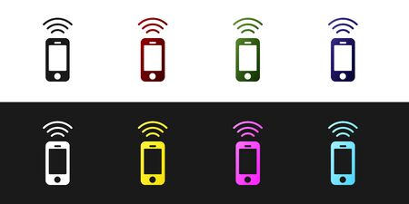 Set Wireless smartphone icon isolated on black and white background. Vector Vettoriali