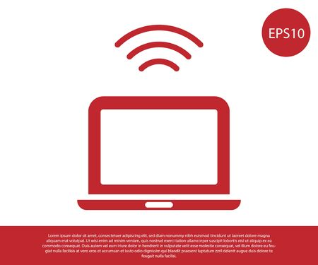 Red Wireless laptop icon isolated on white background. Internet of things concept with wireless connection. Vector