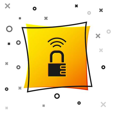 Black Smart safe combination lock icon isolated on white background. Combination padlock. Security, safety, protection, password, privacy. Yellow square button. Vector