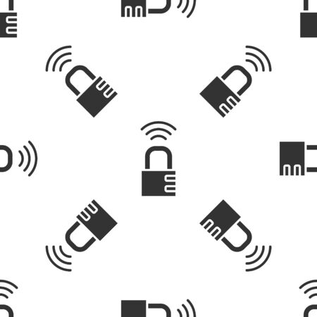 Grey Smart safe combination lock icon isolated seamless pattern on white background. Combination padlock. Security, safety, protection, password, privacy. Vector Illustration