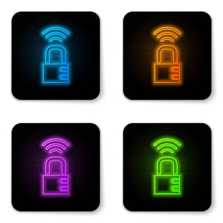 Glowing neon Smart safe combination lock icon isolated on white background. Combination padlock. Security, safety, protection, password, privacy. Black square button. Vector